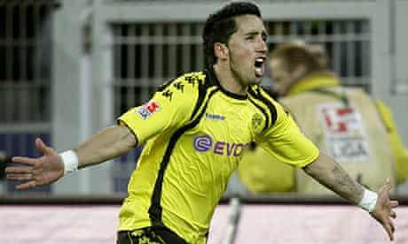 Dortmund's Lucas Barrios celebrates scoring against Bayer Leverkusen