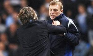 Roberto Mancini and David Moyes clash