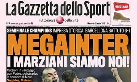 Gazzetta dello Sport, Champions League, Inter v Barcelona