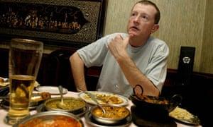Steve Davis enjoying a curry