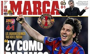The front page of Marca following Barcelona's Champions League win over Arsenal