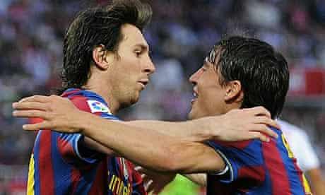 Lionel Messi of Barcelona celebrates with Bojan Krkic