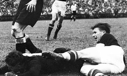 Ferenc Puskas fires home against Germany in the 1954 final, only for the goal to be ruled offside
