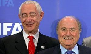 Lord Triesman stands beside Sepp Blatter