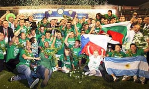Bursaspor players and team members celebrate their championship victory in Bursa