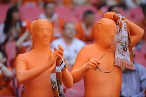 Blackpool v Cardiff: Blackpool fans in skin suits