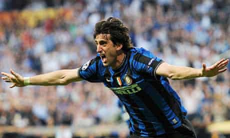 Inter Milan's Diego Milito celebrates scoring against Bayern Munich