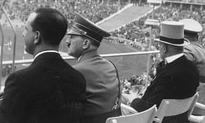 Hitler takes in the action during the 1936 Olympics