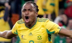 South Africa's Siphiwe Tshabalala celebrates