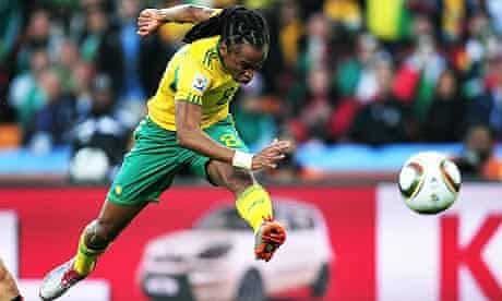 Siphiwe Tshabalala of South Africa scores