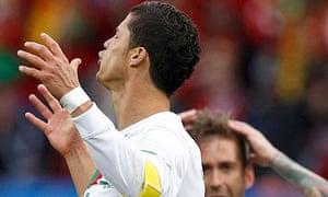 Cristiano Ronaldo hits the post