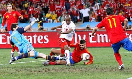 Switzerland's Gelson Fernandes scores against Spain