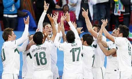 Slovenia celebrate scoring against USA