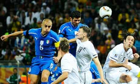 Italy's striker Vincenzo Iaquinta rises highest against New Zealand in their World Cup 2010 match
