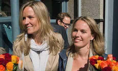 Barbara Castelein and Mirthe Nieuwpoort celebrate their aquittal in Johannesburg