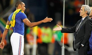 France's Thierry Henry with Raymond Domenech after their 2-1 World Cup defeat to South Africa