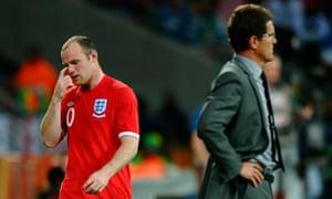 Wayne Rooney, left, of England