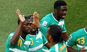 Ivory Coast's Yaya Toure celebrates