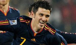 David Villa celebrates giving Spain the lead against Chile 17161c7a47c81