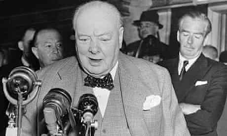 Sir Winston Churchill's relaxed pint-and-a-pie stand-up style