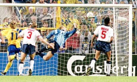 Tomas Brolin scores against England in 1992