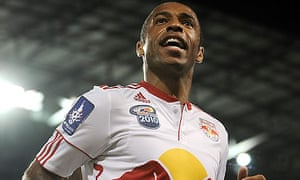 Thierry Henry celebrates scoring against Tottenham on his New York Red Bulls debut