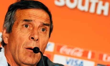 Uruguay's coach Oscar Tabarez speaks at