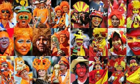 A combination of pictures showing supporters of Holland and Spain