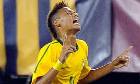 Neymar celebrates scoring for Brazil against USA