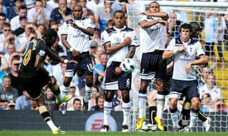 Wigan's Colombian striker Hugo Rodallega takes a free-kick against Tottenham Hotspur