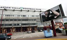 A picture of Martin O'Neill still played on the video screen outside Villa Park