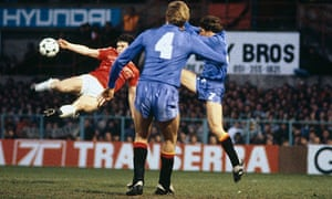 Mark Hughes scores for Wales against Spain