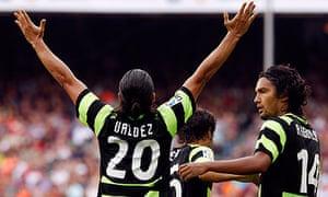 Nelson Valdez celebrates against Barcelona