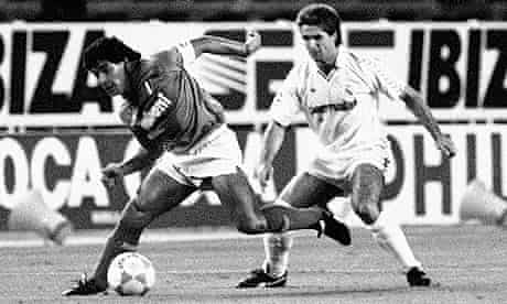 Diego Maradona of Napoli in action against Real Madrid in 1987
