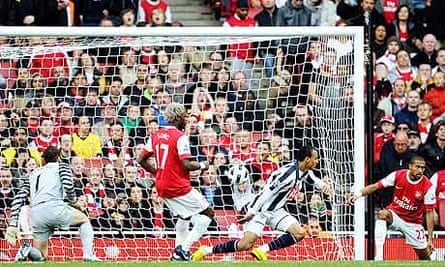 West Bromwich Albion's Peter Odemwingie scores against Arsenal