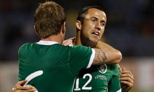 Ireland's Keith Fahey, right, celebrates with Glenn Whelan after scoring against Armenia.