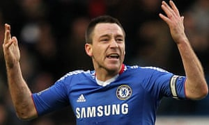 Chelsea's John Terry celebrates their second goal against Aston Villas scored by Didier Drogba