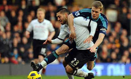 Fulham's Clint Dempsey is fouled for a penalty by Stoke City defender Ryan Shawcross