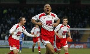 Darius Charles celebrates scoring Stevenage's equaliser