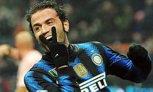 Inter forward Gianpaolo Pazzini celebrates.