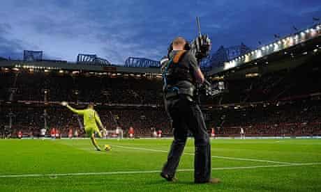 A TV camera films Manchester United v Tottenham