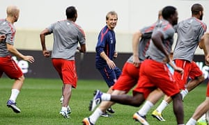 Jürgen Klinsmann at a USA training session in New Jersey before a friendly with Ecuador