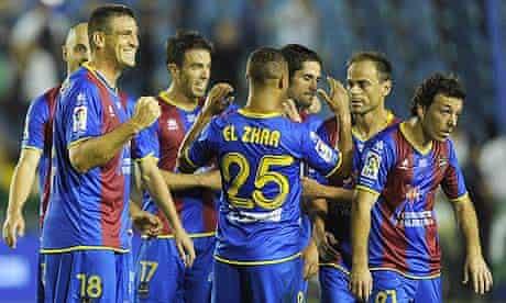 Levante's players celebrate against Malaga