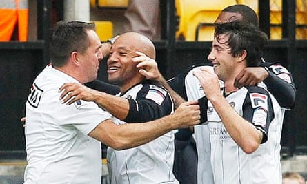 Martin Allen and Notts County goalscorer Karl Hawley against Hartlepool