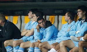 Carlos Tevez on the bench at Bayern Munich
