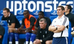 The Derby manager, Nigel Clough, on the touchline