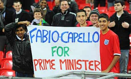 England fans show their support for Fabio Capello