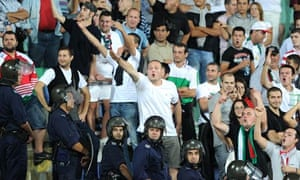 Bulgaria fans taunt the England players during the Euro 2012 qualifier in Sofia