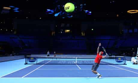 Rafael Nadal serves during previews for the ATP World Tour Finals at the O2 Arena