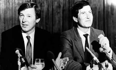 Alex Ferguson at his unveiling in 1986 with Martin Edwards